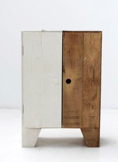 Beyaz/Ceviz Komodin-Oldwooddesign